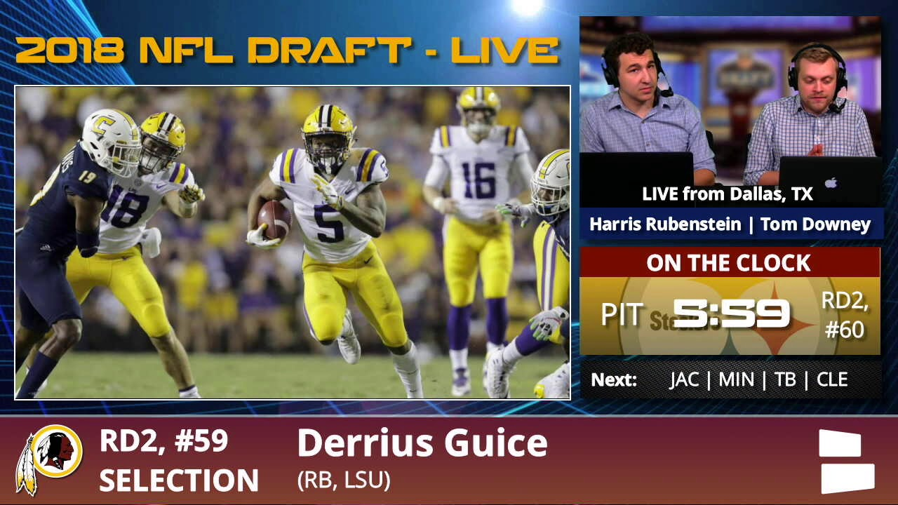 Washington Redskins Select RB Derrius Guice From LSU With Pick  59 In 2nd  Round Of 2018 NFL Draft 70980d92f
