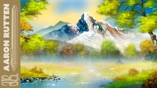 Autumn Mountain Lake - Digital Art in the Style of Bob Ross (Speed Painting)
