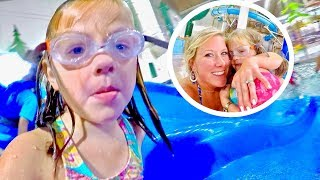 LITTLE GIRL OVERCOMES BIGGEST FEAR at GREAT WOLF LODGE INDOOR WATER PARK!