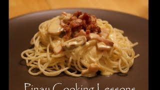 Creamy Ham & Mushroom Pasta Sauce With Bacon Topping