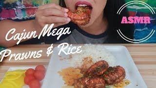 ASMR - Cajun Huge Mega Prawns With Rice Eating Sounds (NoTalking)
