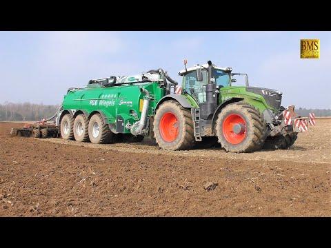 Fendt 1050 Vario Traktor & Samson Güllewagen PG 31 Volmer Scheibenegge 7m Gülle driving slurry 2019