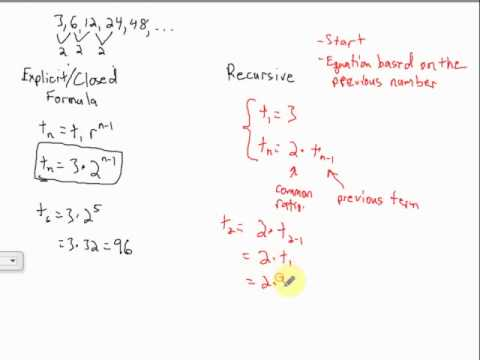 Explicit And Recursive Geometric Sequences - Youtube