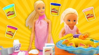 Barbie and Baby Doll Make Play Doh Crepes with Kitchen Toys