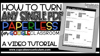 How to Turn Any PDF Paperless for Google Classroom