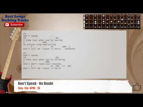 Don't Speak - No Doubt Bass Backing Track with chords and lyrics