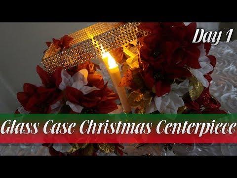 Dollar Tree DIY: Glass Case Christmas Centerpiece
