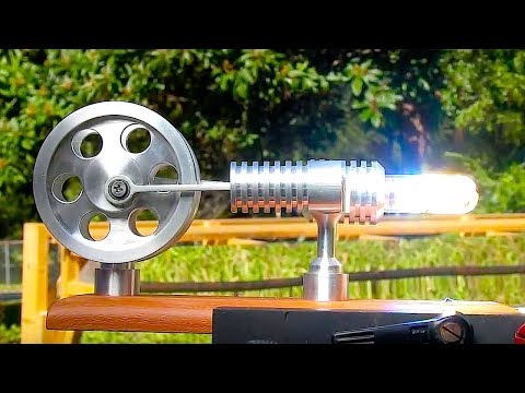 STIRLING ENGINE FRESNEL Lens on a Steek Solar powered Stirli