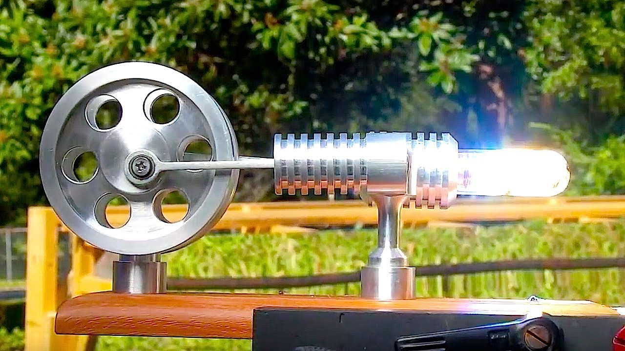Stirling Engine Fresnel Lens On A Steek Solar Powered