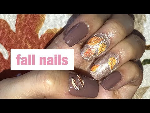 FALL NAIL TUTORIAL ~leaf stickers & glitter~ thumbnail
