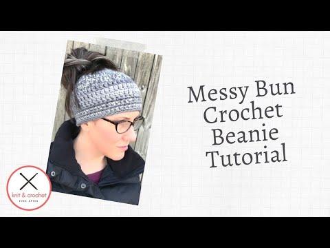 Crochet Messy Bun Beanie Hat Super Easy Hour Beanie