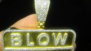 Fully Solid All Gold Real Diamond Bar Pendant(M4H06586)