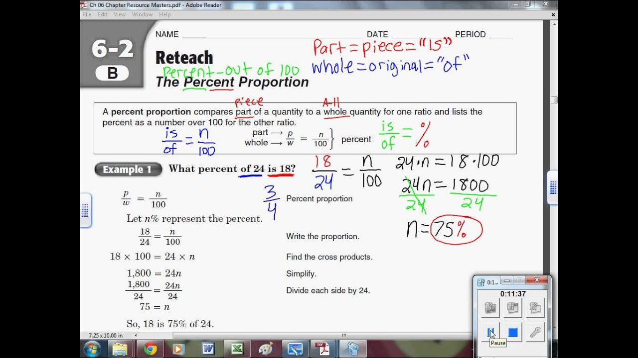 Percentages, Ratios, and Proportions