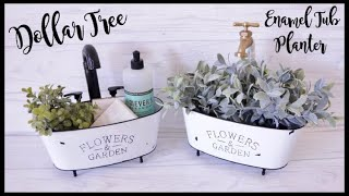Dollar Tree DIY Farmhouse Enamel Tub Planter