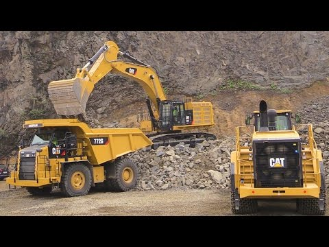 Caterpillar Demo Show: Cat 374F Excavator, 988K Wheelloader And 772G Mining Truck @ Steinexpo 2014