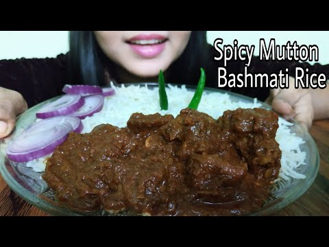 Eating Bashmati Rice With Spicy Mutton Gravy (no talking)