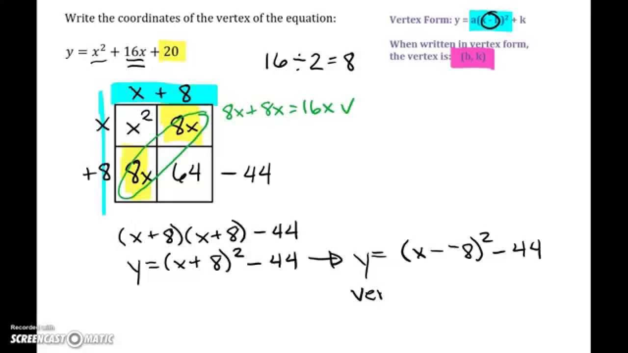 How To Put A Quadratic Equation Into Vertex Form By ...