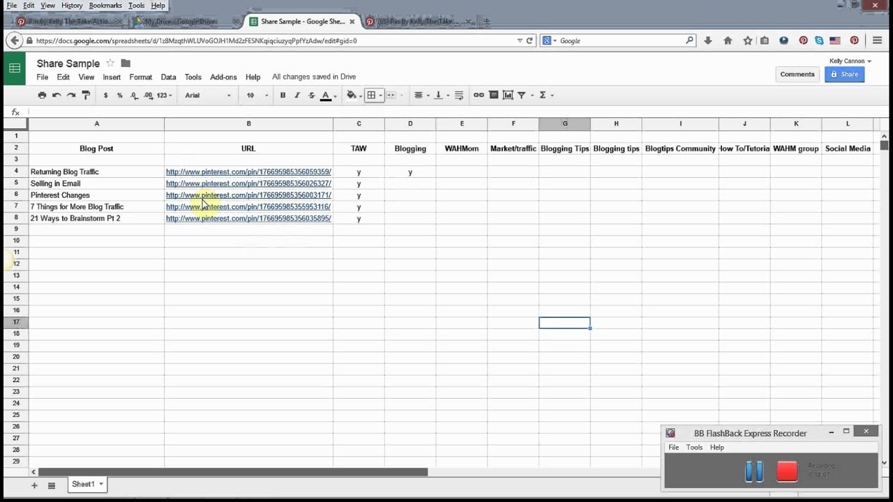 using a spreadsheet to schedule pinterest pins youtube