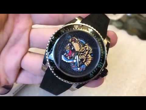 3f78fc0ce09 New Gucci Dive XL Sport Tiger Motif Dial Men s Rubber Strap Watch YA136318