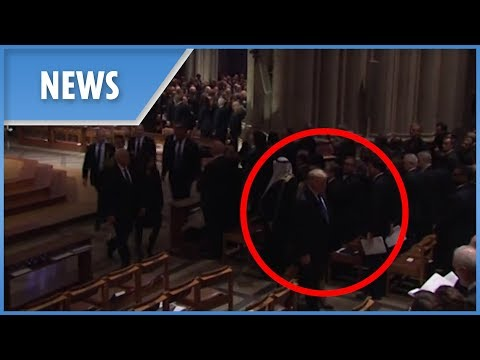 Trump leaves George H.W. Bushs funeral EARLY before the casket