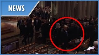 Trump leaves George H.W. Bush's funeral EARLY before the casket