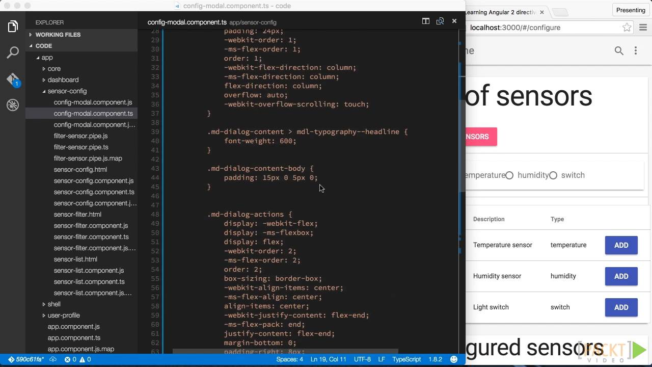 Learning Angular 2 directives: Selecting and Configuring a New Sensor |  packtpub com
