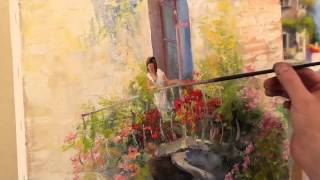 Уроки рисования  Сахарова_ Пишем балкон с цветами.