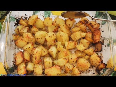 Greek Lemony, Perfectly Roasted, Cracked Potatoes – Τέλειες, Τραγανές, Λεμονάτες Πατάτες Φούρνου