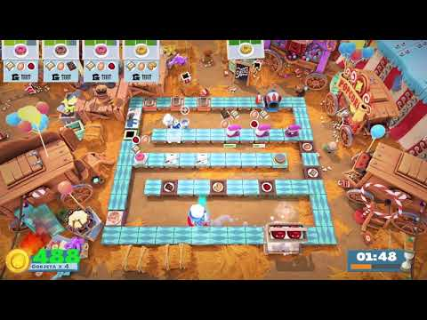 Overcooked 2 [Carnival of Chaos] Level 3-1 - 2 players - 4 stars |