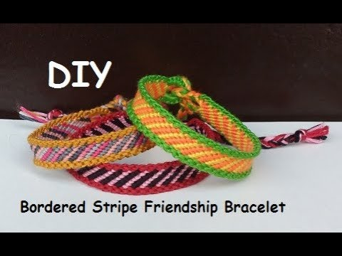 Friendship Bracelet Bordered Diagonal Stripe Pattern