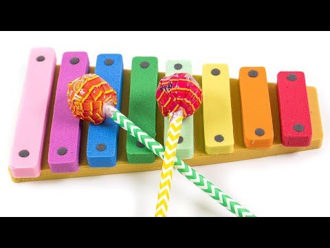 Learn Colors Kinetic Sand Rainbow Xylophone Candy Playing DIY How to make for kids