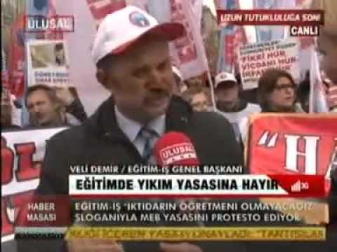 EĞİTİM İŞ ÜYELERİ ANKARA'DA TORBA YASAYI PROTESTO EDİYOR-1