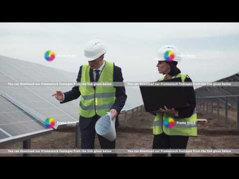 Stock footage Engineers on solar farm