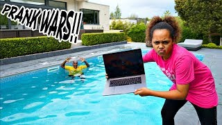 MY DAD'S MACBOOK PRO IN OUR SWIMMING POOL PRANK!!