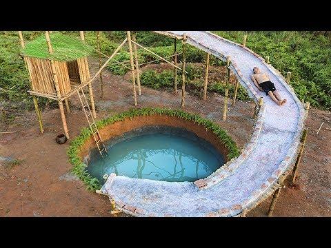 Unbelievable! Smart Boy Build Water Slide Around Swimming Pool Underground