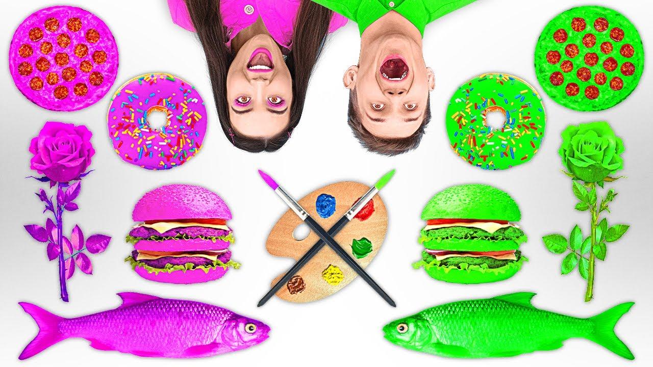 แข่งวาดรูปตั้งแต่เริ่มจนจบหลักสูตร || ใครวาดได้ดีกว่ากัน? ชาเลนจ์วาดรูปอาหารขำๆ โดย 123 GO! FOOD