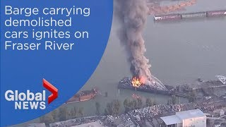 Massive fire breaks out on BC barge carrying wrecked cars