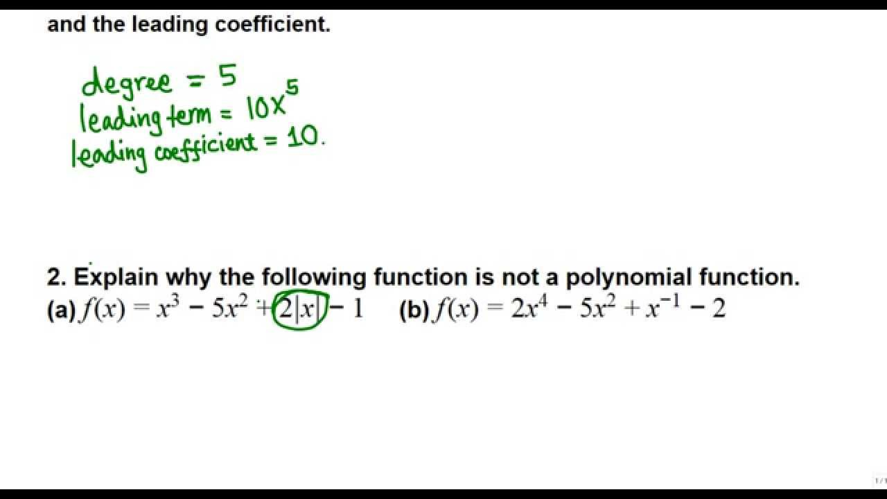 degree leading term of a polynomial college algebra youtube