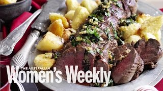 Stuffed beef fillet with duck fat roasted potatoes  Recipes