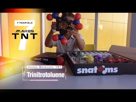 7 year old makes TNT molecule using Snatoms (NEW UNBOXING)
