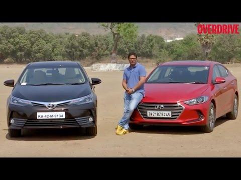 2017 Toyota Corolla vs 2016 Hyundai Elantra Petrol AT Comparative Review