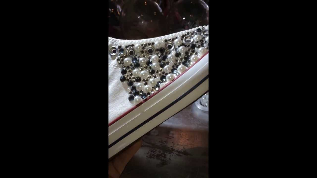 228f6d490d05 Pearl Bling Converse with Black Diamond swarovski - YouTube