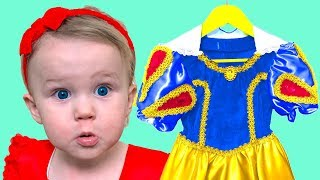 Mania going to Birthday Party and chooses Princess Dresses