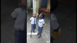 School students playing funny game