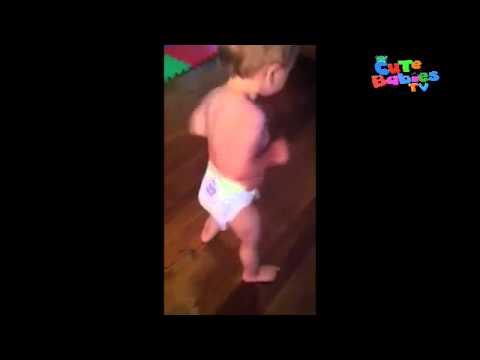 Baby dancing in diaper!