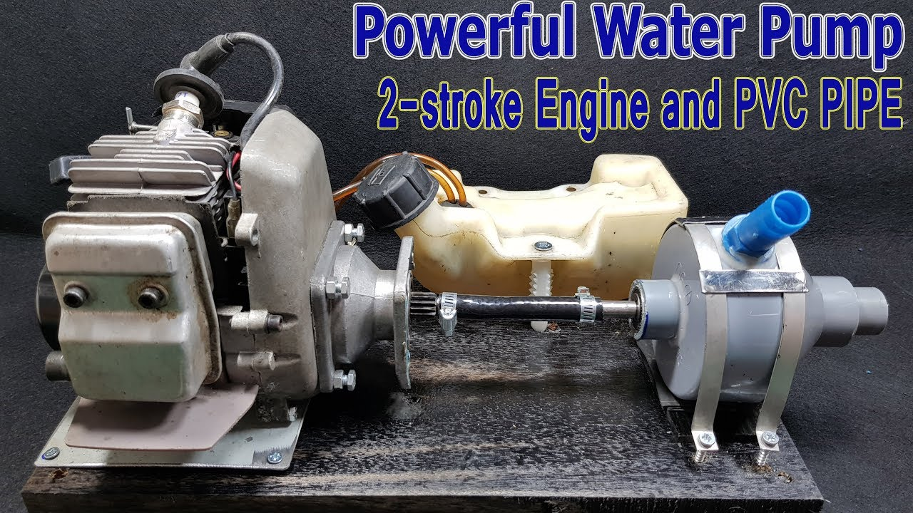 How To Make Water Pump Using 2 Stroke Engine And PVC Pipe