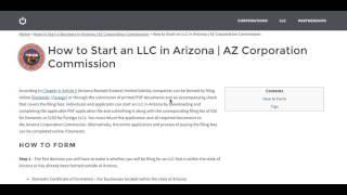 Hoe te Beginnen met een LLC in Arizona | AZ Corporation Commissie