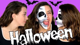 Repeat youtube video Maquillaje fácil para halloween. Maquillaje de media cara