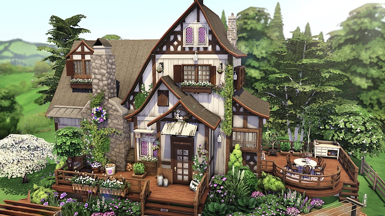 Spring Cottage 🌷🌼w/ Country Kitchen Kit | The Sims 4 - Speed Build (NO CC)