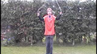 How to do the T.S.(backwards\ behind the back cross) jump rope trick.